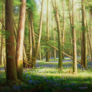 Bluebell Wood (oil on canvas)