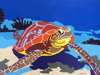 "Sea turtle - 18""x 20"" acrylic on canvas"