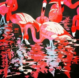 "Pretty Flamingos - 36""x 36"" acrylic on canvas"