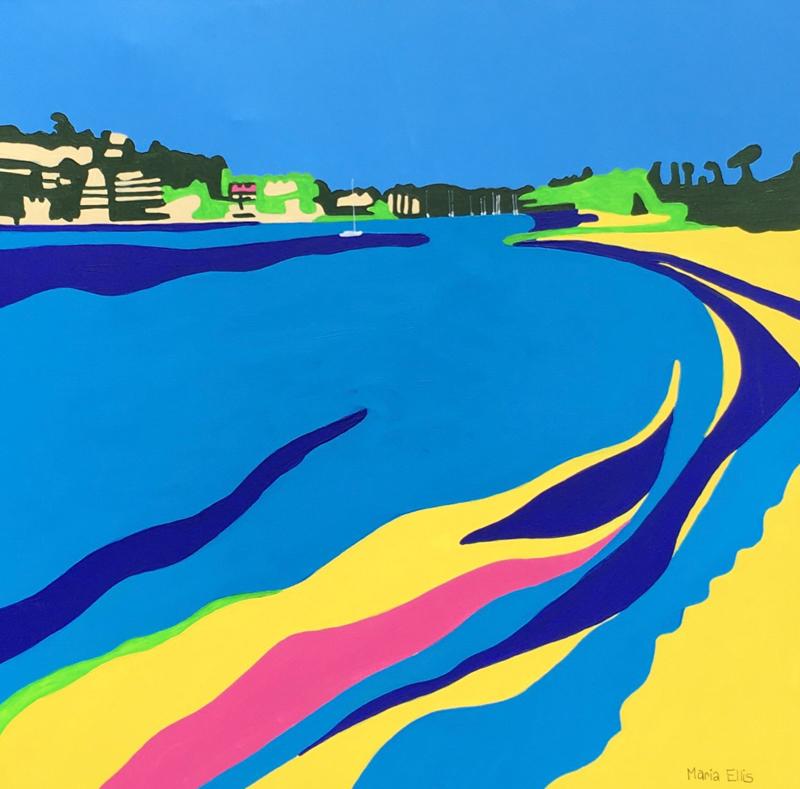 "Maria Ellis - Looking forward to Salcombe - 24""x 24"" acrylic on canvas"