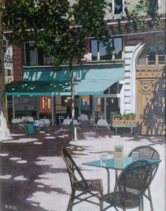 Paris Cafe, acrylic on board, Gallery price £1250 20x16in