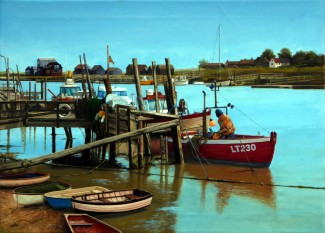 Late Afternoon, Walberswick. 69cm x 53cm. Oil [Walberswick is on the Suffolk coast is an artist's heaven. This scene presented itself while walking along the banks of the River Blyth.]