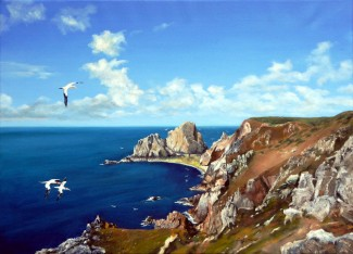 Gannets over Alderney. 64cm x 50cm. Oil [This portrayal is based on a view discovered walking along the southern coast of Alderney]