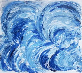 """Vortex,   palette knife,  acrylic on board, dimensions 25""""x22"""" with 2"""" plain white frame.   £250"""
